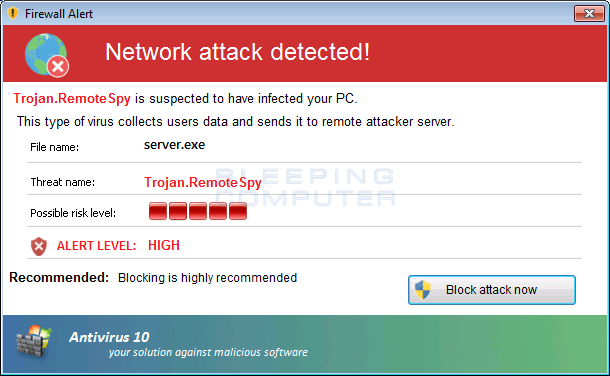 Antivirus 10 Fake Firewall Alert