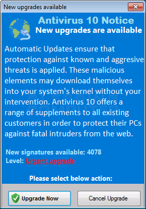 Antivirus 10 Fake Upgrade Alert