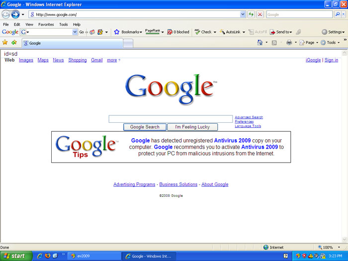 Google homepage hijacked by Antivirus 2009