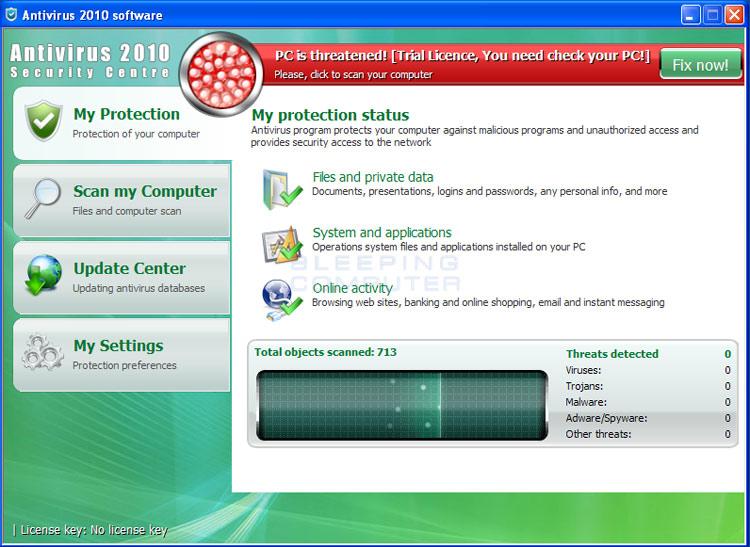 Antivirus 2010 Security Centre