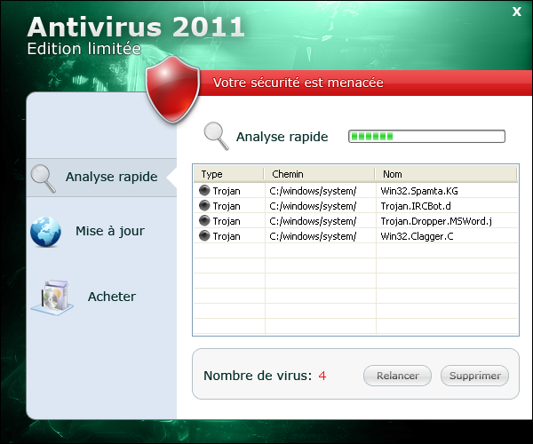 Antivirus 2011 Edition limitée screen shot
