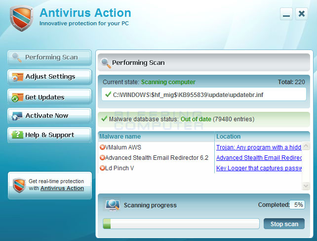 Antivirus Action screen shot