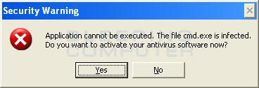 Fake file infected warning