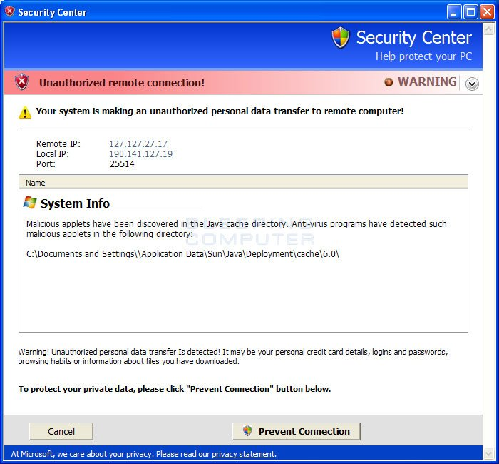 Fake security center alert #1