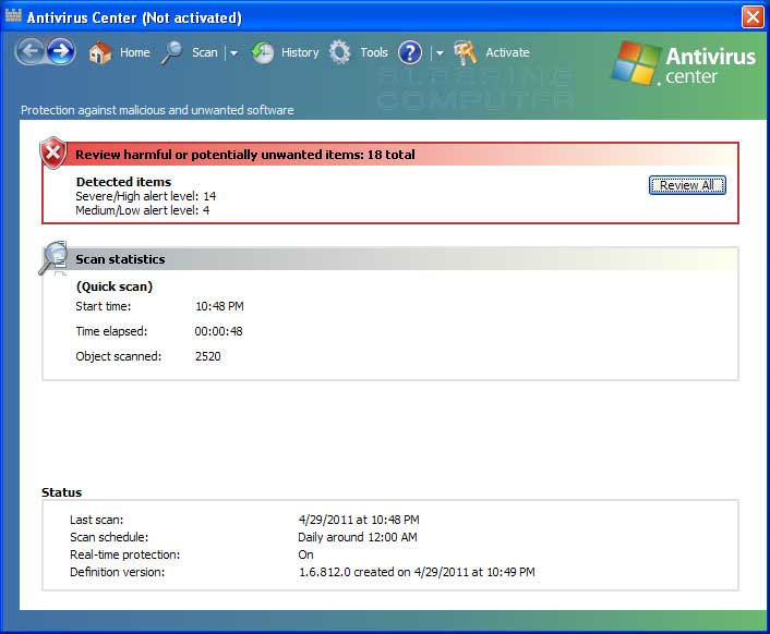 Antivirus Center screen shot
