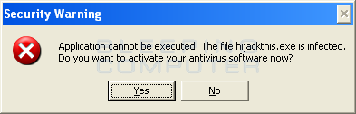 Program being terminated stating it was an infection