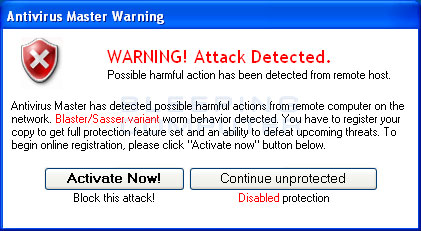 Fake alert from Antivirus Master