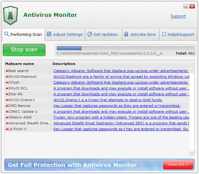 Antivirus Monitor screen shot