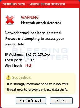 Fake Critical Threat Alert