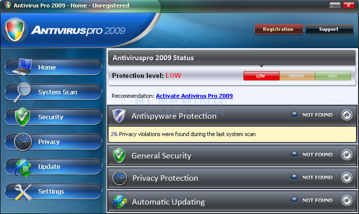 AntivirusPro 2009 screen shot