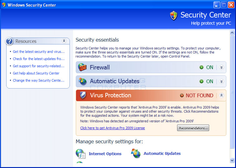 Fake Windows Security Center advertising Antivirus Pro 2009