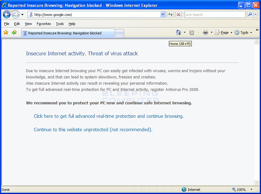 Internet Explorer hijacking