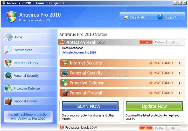 Antivirus Pro 2010 screen shot