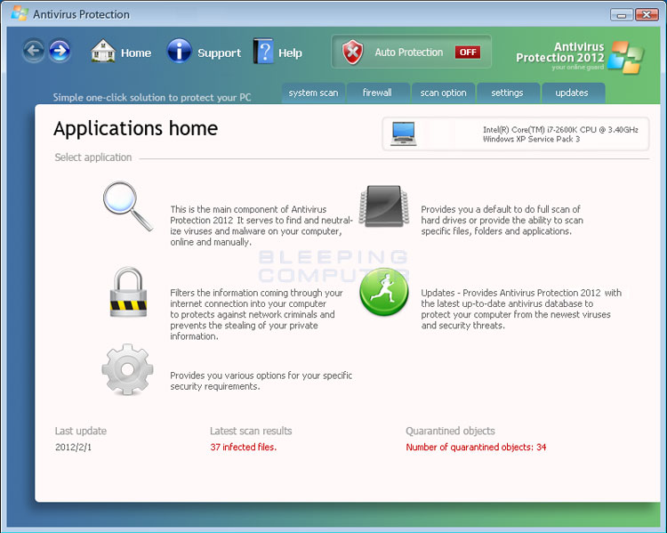 Antivirus Protection 2012 screen shot