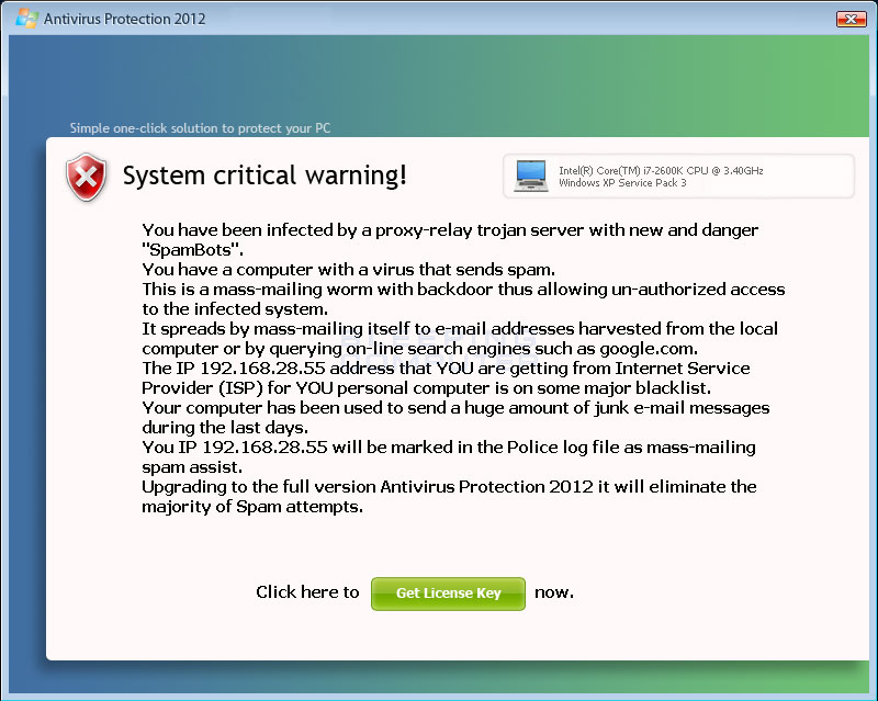 Fake critical warning