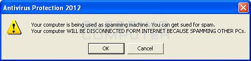 Fake spam warning