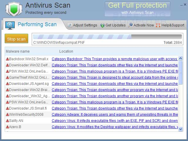 Antivirus Scan screen shot