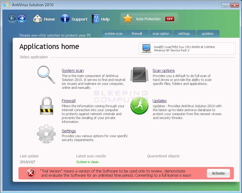 AntiVirus Solution 2010 screen shot