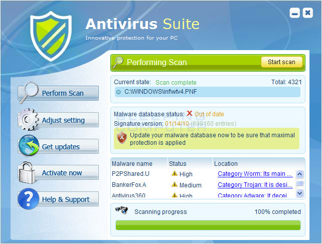 Antivirus Suite screen shot