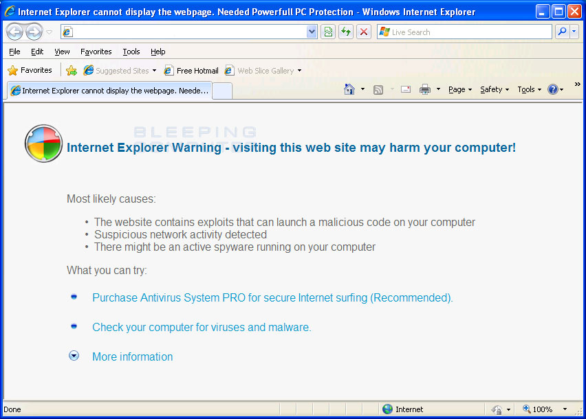 Internet Explorer Hijacked by Antivirus System Pro