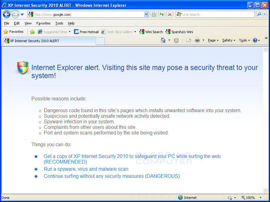 Internet Explorer browser hijack