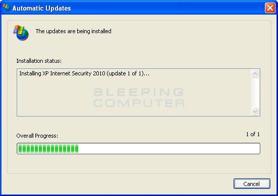 Fake Automatic Update screen