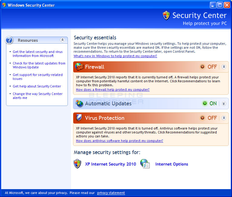 Fake XP Windows Security Center