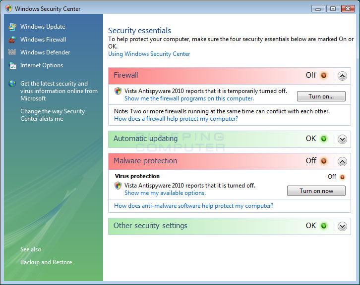 Fake Vista Windows Security Center