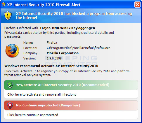 Fake Firefox firewall warning