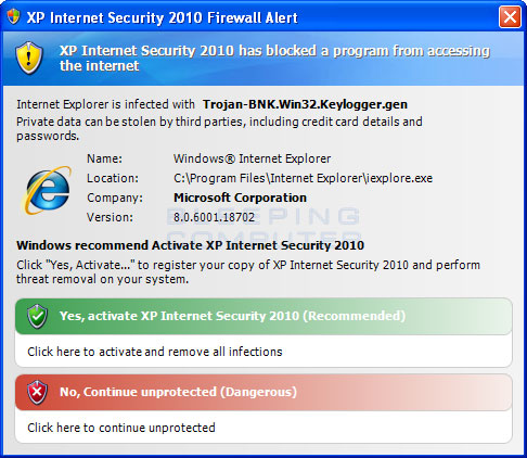 Fake Internet Explorer firewall warning