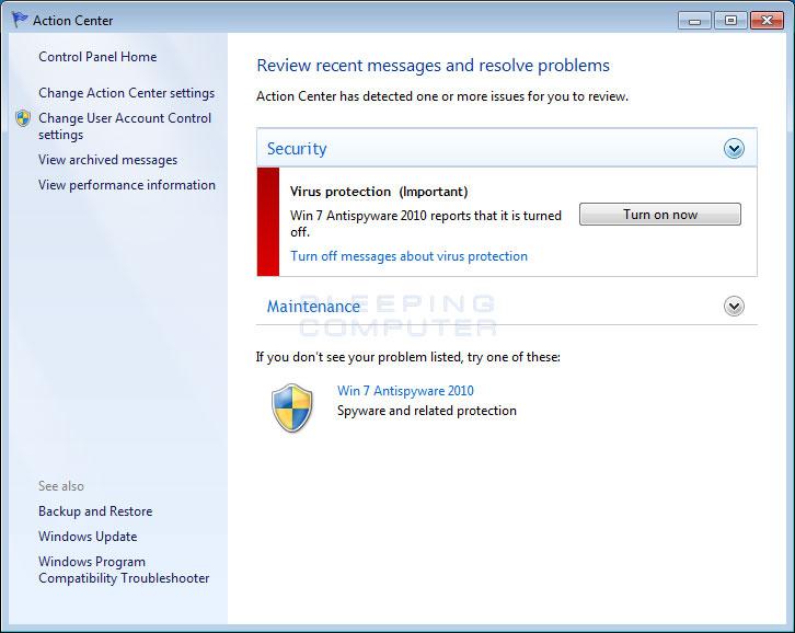 Fake Windows 7 Action Center