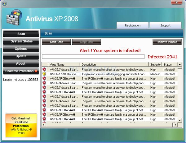 Screen shot of Antivirus XP 2008