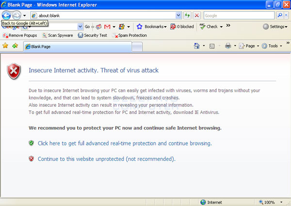 Fake google message stating you are infected.