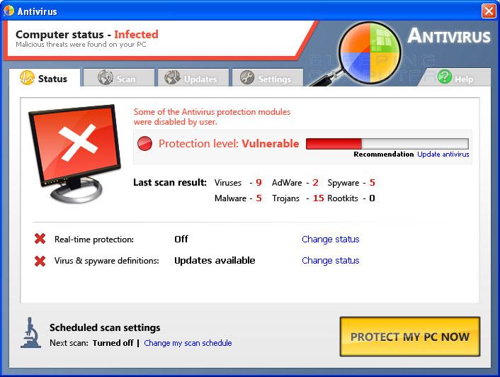 Antivirus screen shot