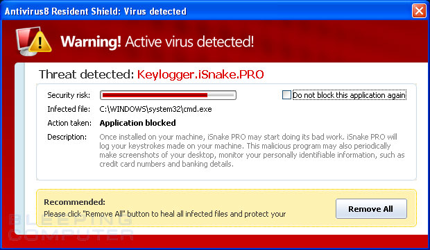 Fake virus detected alert