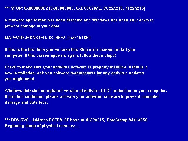 Fake Blue Screen of Death