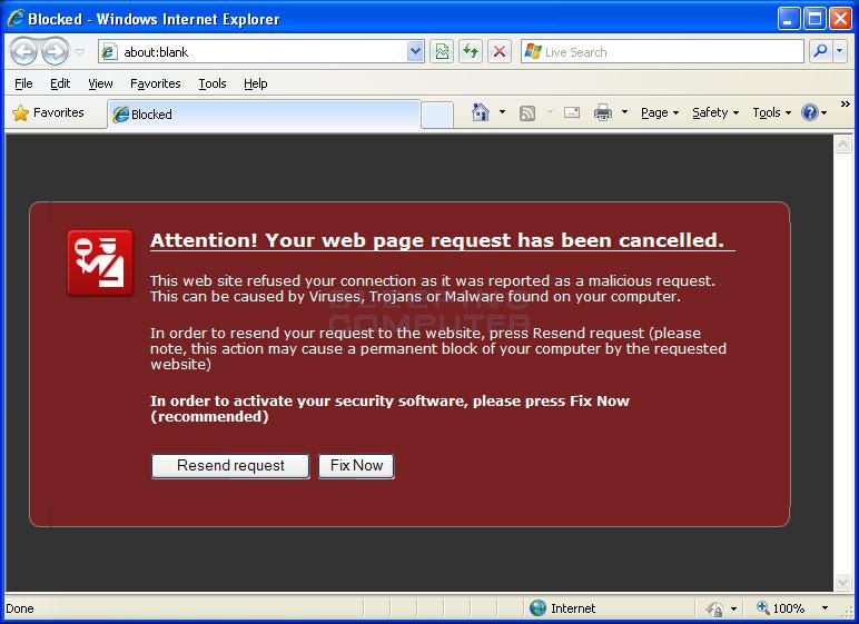 Internet Explorer browser hijack