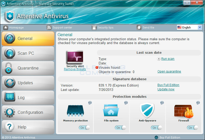 Attentive Antivirus screen shot
