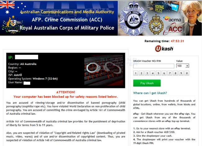 Australian Communications and Media Authority Ransomware Screen shot