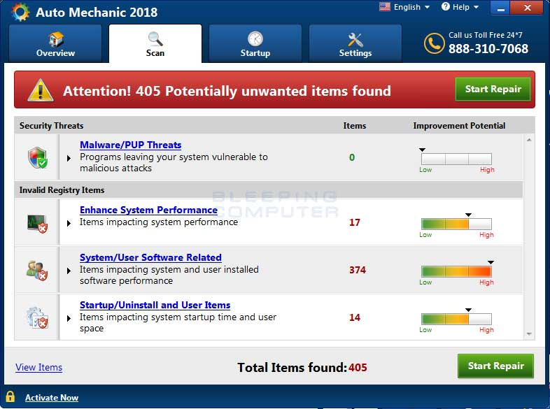 Auto Mechanic 2018 Detected Issues