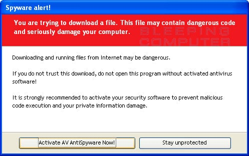 Warning that is displayed when you download a file