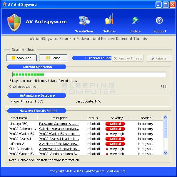 AV AntiSpyware scanning screen