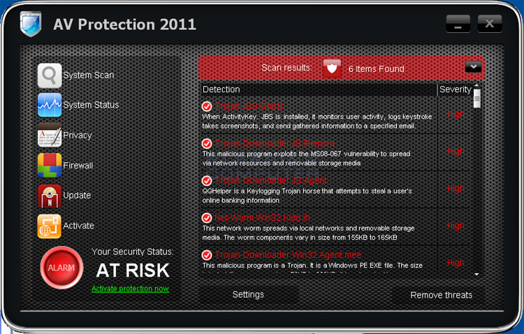 AV Protection 2011 screen shot