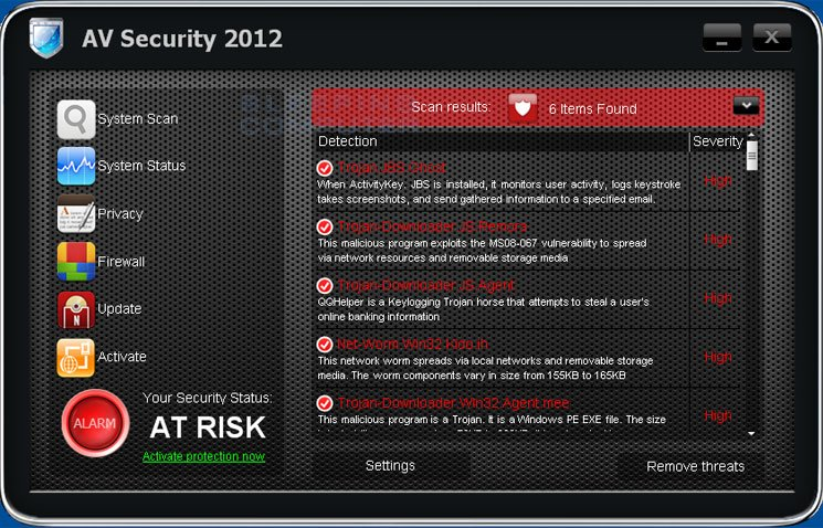 AV Security 2012 screen shot