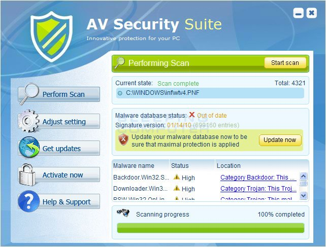 AV Security Suite scren shot