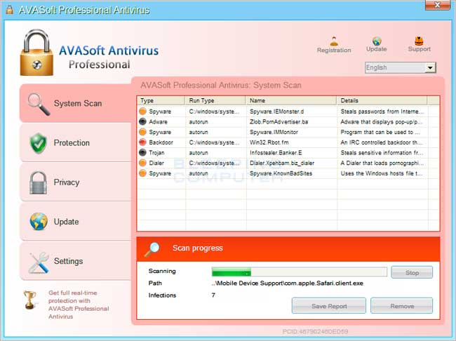 AVASoft Professional Antivirus screen shot