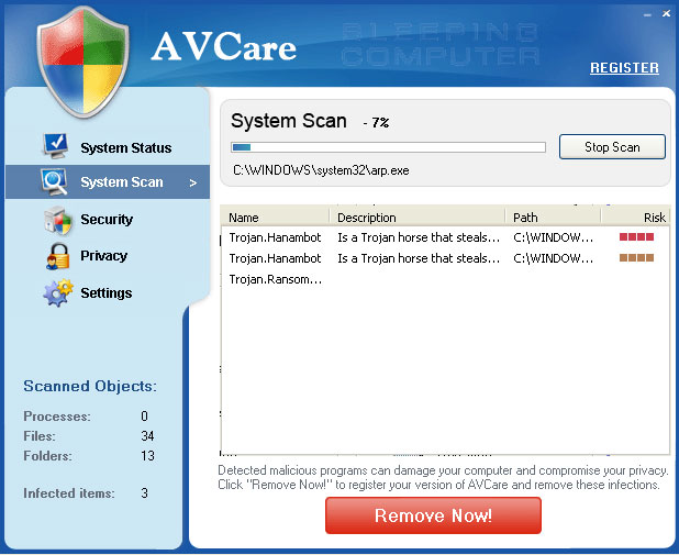 AvCare scanning a computer