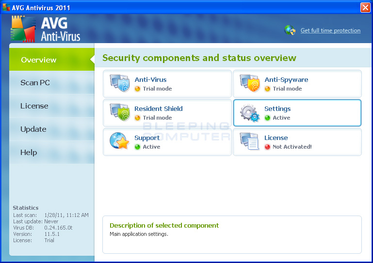 AVG Antivirus 2011 screen shot