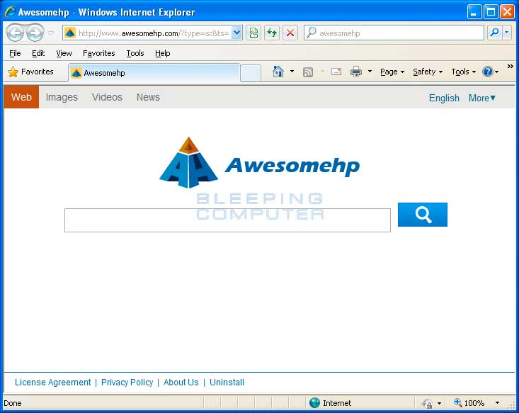 Awesomehp.com Browser Hijacker screen shot