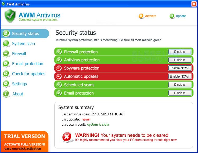 AWM Antivirus screen shot